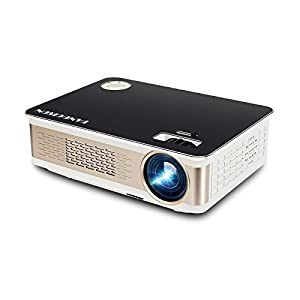 TANGCISON Home Projector Video Projector, LED Christmas Projector 3300Luminous 280 HD 1080P Projector Home Theater Video Mini Projector Multimedia Home Theater Movies Projector (black)