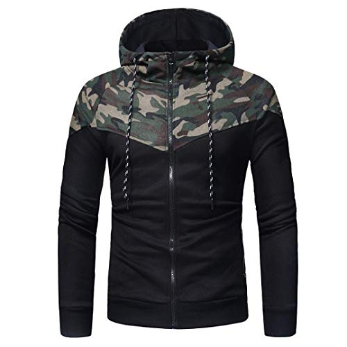 YOcheerful Men Autumn Winter Coat Outwear Suit Blouse Sweatshirt Top Sports Suit Tracksuit (Coat-Camouflage,XL) from YOcheerful