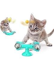 Sunshine smile Roterande väderkvarn kattleksak skivspelare, väderkvarn kattleksaker, LED-boll och kattmynta boll rotationstallrik kattleksak, retar husdjursleksak interaktiva kattleksaker (blå)