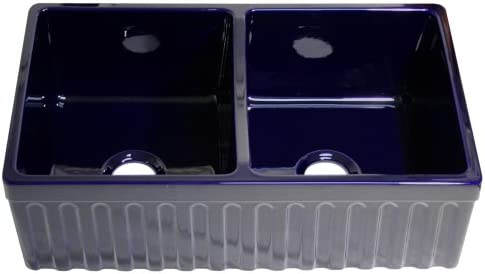 Whitehaus Collection WHQDB332-BLUE Quatro Alcove Kitchen, Fireclay, Front Apron Sink, Glossy, Sapphire Blue