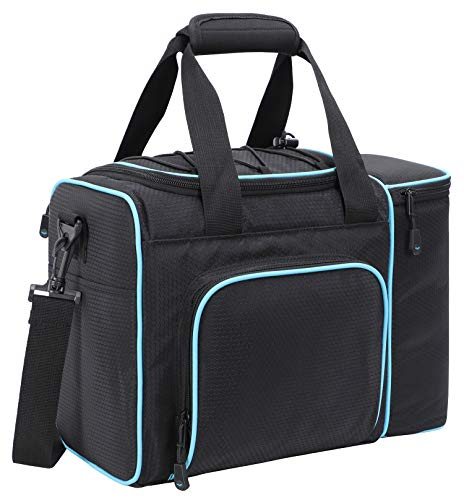 MIER Large Adult Lunch Bag for Men Women Insulated Soft Cooler for Picnic, Kayak, Beach, Grocery, Work, Travel, 2 Decks Cooler, Black/Blue