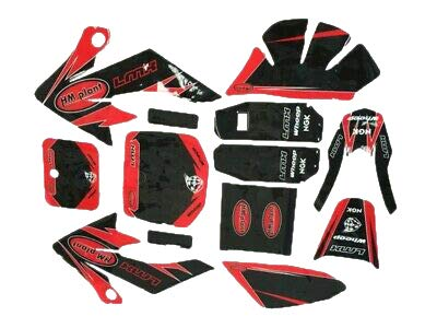 HML MOTO Customize Motorcycle Stickers Decals Graphics Kit for Honda CRF50 SSR DHZ SDG (red&Black)