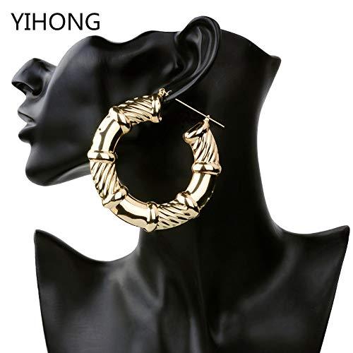 Hip Hop Style Gold Tone Bamboo Earrings | Large Circle Basketball ()