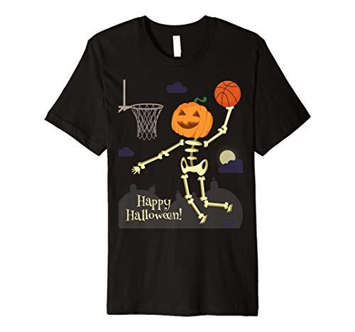 PUMPKIN HEAD SKELETON SLAM DUNK BASKETBALL HALLOWEEN T-SHIRT - Basketball Slam Dunk Contest