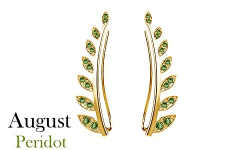 Peridot Cuff - Simulated Peridot Ear Crawler Cuff Earrings 14k Yellow Gold Over Sterling Silver Climber Studs Olive Leaf