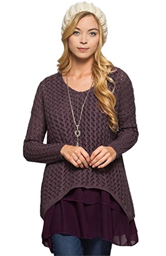- She + Sky Women's Long Sleeve Sweater Tunic With Chiffon Ruffled Hem (Small, Dusty Purple)