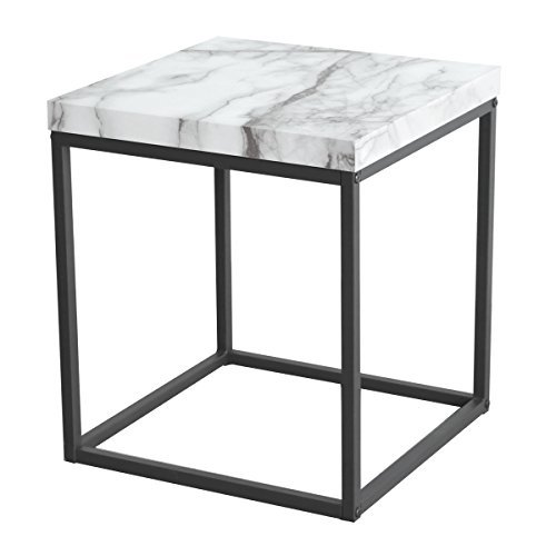 Tilly Lin Modern Accent Faux Marble Top End Table, Side Table, for Living Room, Bed Room, Black Metal Frame, Carrara