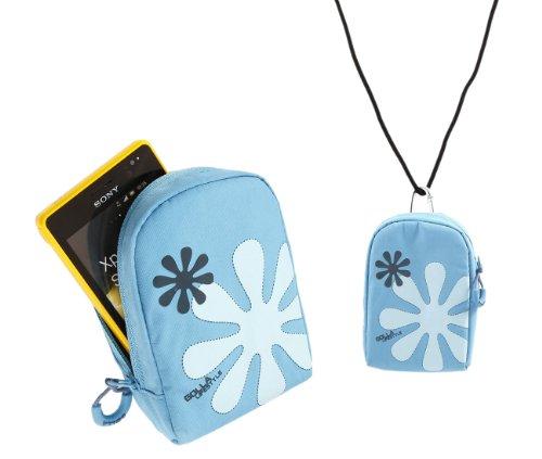 iTALKonline Golla Türkis BLAU Blume Design Hama Dig Reef-L Tasche Hülle Case mit Haken für Apple iPhone 4, 4S
