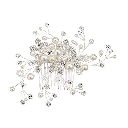 (BB67 Bridal Tiara Beautiful Wedding Accessories Handmade Pearl Rhinestone Comb)