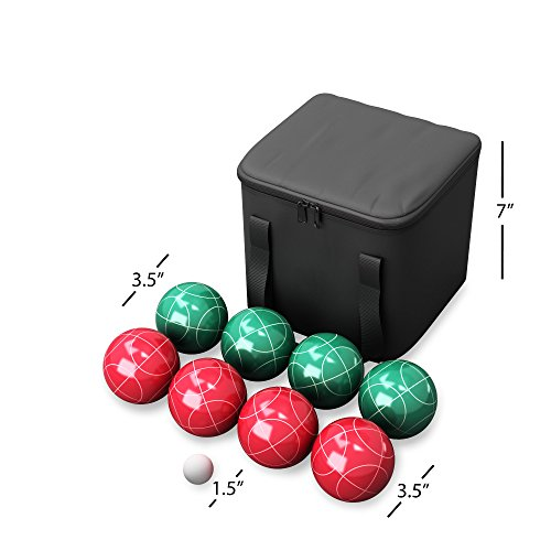 418B3nvq1ML - Hey! Play!! 80-76090 Bocce Ball Set- Outdoor Family Bocce Game for Backyard, Lawn, Beach & More- 4 Red & 4 Green Balls, Pallino & Carrying Case