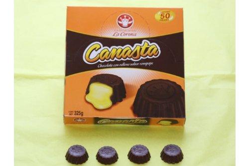 Canasta Rompope La Corona (Eggnog Flvored Chocolae Filling Basket (50pc in Box by La Corona