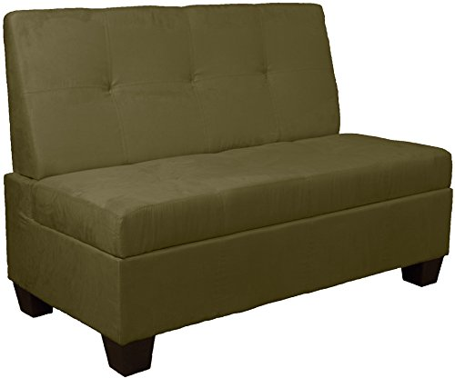 Butler Microfiber Upholstered Tufted Padded Hinged Storage Ottoman Bench, 48-inch Loft-size, Microfiber Suede Olive Green - Green Microfiber Ottoman
