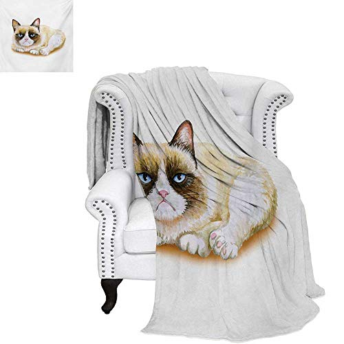 a9d5fbbe22a88f warmfamily Animal Summer Quilt Comforter Grumpy Siamese Cat Angry Paws  Asian Kitten Moody Feline Fluffy Love Art Print Digital Printing Blanket  60