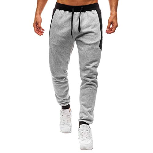 LISTHA Pocket Sport Work Pants Men Overalls Drawstring Casual Jogging Trousers Gray