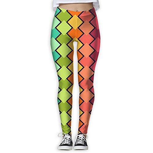 Vivacious Velvet (Rainbow Rhombus Women's Classic Leggings Pants Exercise Capri Leggings Workout Pants Gym Tights Leggings Yoga Pants Large)