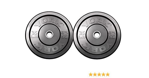 10 lbs Bumper Plates Pair York Barbell Rubber Olympic Training New Black 29067