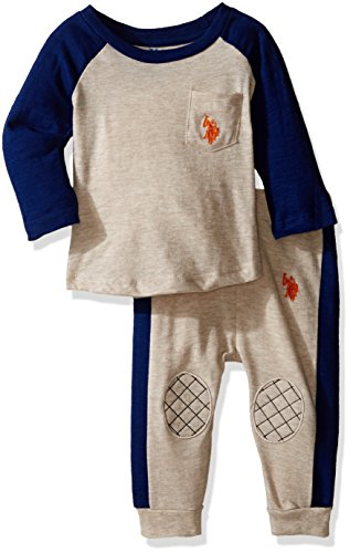 U.S. Polo Assn. Baby Boys' Long Sleeve Slub Jersey Raglan Crew Neck Pullover and French Terry Joggers, Oatmeal, 6-9 Months