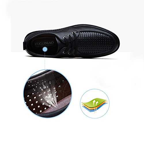 Cava Uomo Autentico Casual Scarpe Scarpe Pelle Punzonatura Traspirante Business Da Estate Da Uomo black YXLONG In WEqICE