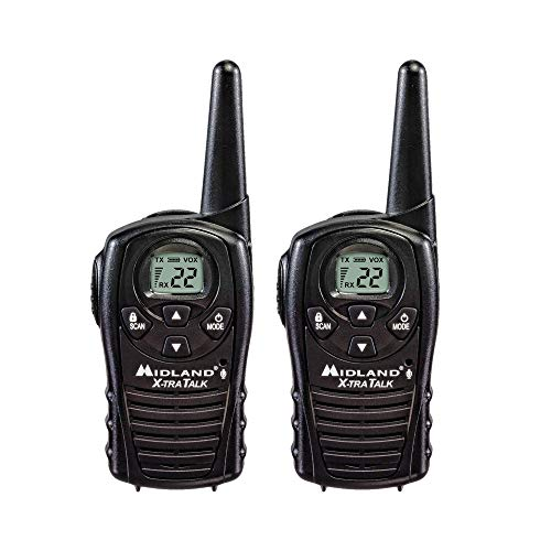 Midland - LXT118, FRS Walkie Talkies with Channel Scan - Up to 18 Mile Range Two Way Radio, Hands-Free VOX, Water Resistant (Pair Pack) ()