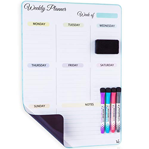 Planner Erase Dry Weekly - Magnetic Dry Erase Vertical Weekly Calendar for Fridge with New Premium Stain Resistant Technology - Best Value All Included - Whiteboard Organizer Planner: Refrigerator White Board