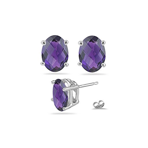 3.00-3.50 Cts of 9x7 mm AAA Oval Checker Board Amethyst Stud Earrings in Platinum ()