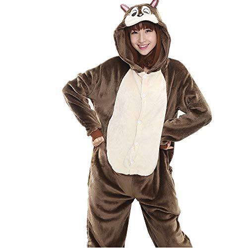 Unisex Adult One Piece Animal Pajamas Onesie Squirrel Cospla