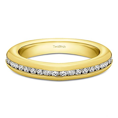 Yellow Plated Sterling Silver Twenty Stone Thin Channel Set Wedding Ring with Cubic Zirconia (0.1 ct. tw.)