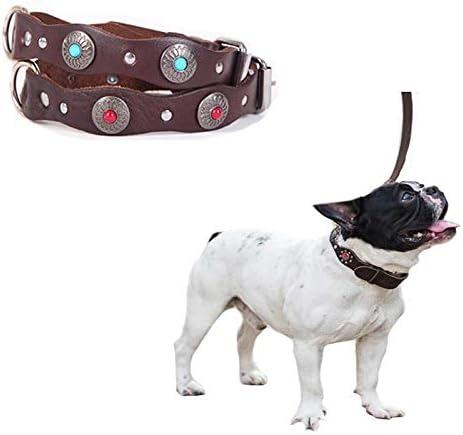 GSDJU Cinturón de Correa de Collar de Perro de Piedra Natural Ajustable de Cuero Real para Perro de Mascota pequeño Mediano Collar de Hebilla de Cobre Fuerte Producto para Mascotas
