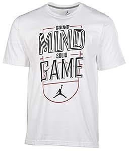 Jordan Men's Nike Sound Mind Solid Game T-Shirt-White/Black-Large