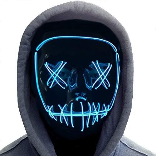 Halloween Mask,LED Masks Glow Scary Mask Light Up Cosplay Mask Rave Mask for Festival Music Party Parties Costume Christmas (Halloween mask for Bule -