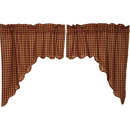 Window Swags Treatments (VHC Brands Classic Country Primitive Kitchen Window Curtains - Check Red Scalloped Swag Pair x King Burgundy)