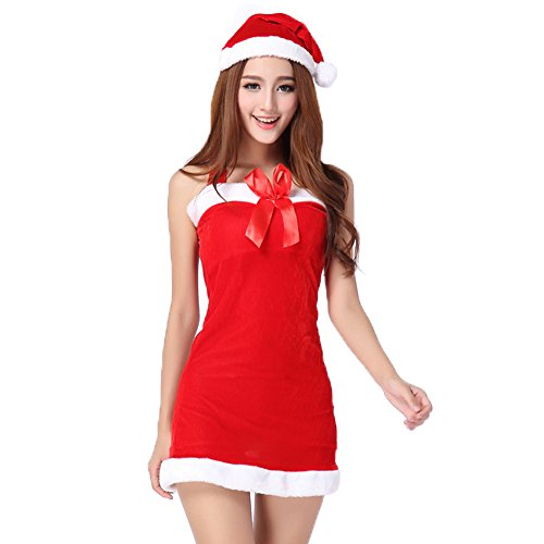 TEMPT Womens Sexy Christmas Costumes Halter Lingerie Dress Holiday Santa Claus Outfits (Plus Size Sexy Santa Christmas Costume)