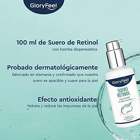 Retinol Serum en Alta dosificación (3,5%) - 100ml Cuidado triple con Vitamina C y Ácido Hialurónico - Serum facial antiedad - Probado dermatológicamente