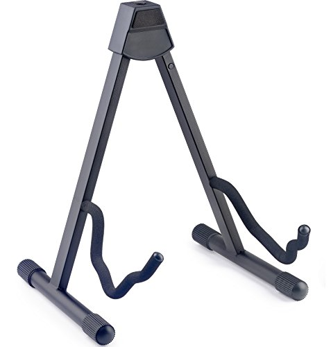 Stagg SG-A008/1BK Foldable Stand for Acoustic/Electric Guitar with Two Cradling Hooks & Back Rest - Black