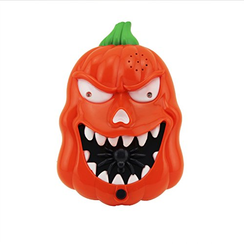 Adorox Happy Halloween LED Flashing Scary Sounds Pumpkin Doorbell Trick or Treat Talking Spider Spooky Jack O Lantern (Happy Halloween Light)