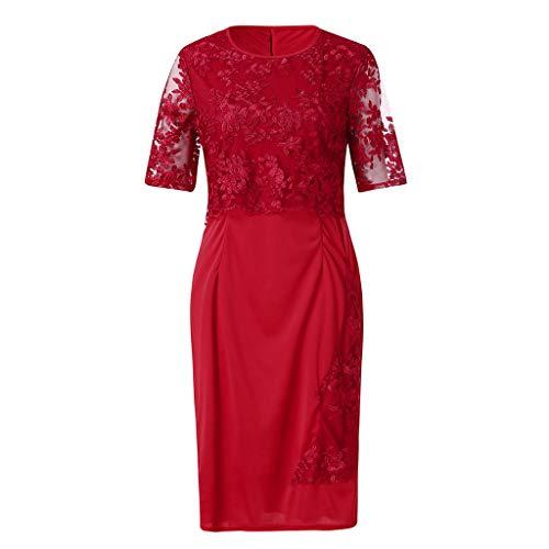 Elegante Vestidos Mujer Elegantes Casual Fiesta Encaje Coctel Playa De Primavera Rojo Largo Strir qEYgdwq