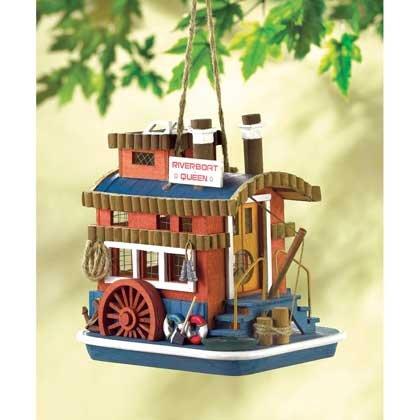 Garden Decor Nostalgic Riverboat Queen Birdhouse Mississippi River Paddleboat