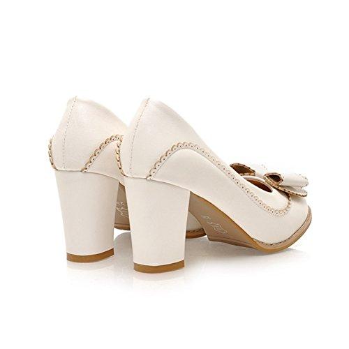 Spitzschuh Bogen Schuhe 5 Pumps Frauen Kunstleder Starke Ferse Weiß Einfarbig Falbala 40 Eq8xgf1w