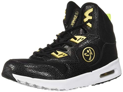 Zumba Women's Air Classic Athletic Dance Workout Shoes with Max Impact Protection Sneaker, Black/Gold, 8
