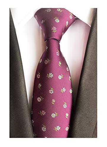 Silk Coat Floral (Big Boys Purple Floral Silk Tie Polo Fuchsia Clip on uk Neckties Men Collections)