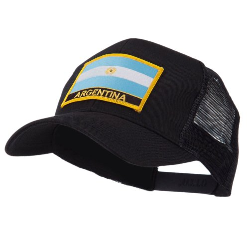North and South America Flag Letter Patched Mesh Cap - Argentina OSFM