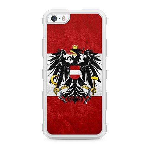 Austria Österreich - für iPhone SE / iPhone 5 / iPhone 5S - SILIKON TPU Hülle - WEISS - Cover Case Schutz Schale Flagge Flag