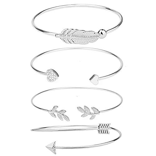 Shareky Women 4pcs Layered Cuff Bangle Bracelet Set Adjustable Stackable Wrap Bangle Open Branch Wire Bangle Silver -