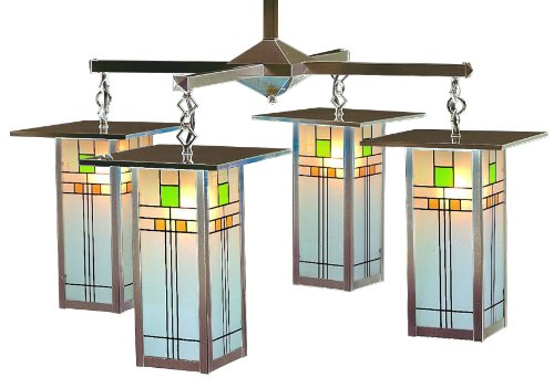 Arroyo Craftsman FCH-9L/4-C-BZ Franklin Collection 4-Light Chandelier, Bronze Finish with Yellow-Green (Craftsman Collection Pendant)