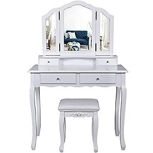 Songmics schminktisch 3 spiegel mit hocker u for Schminktisch mit 3 spiegeln