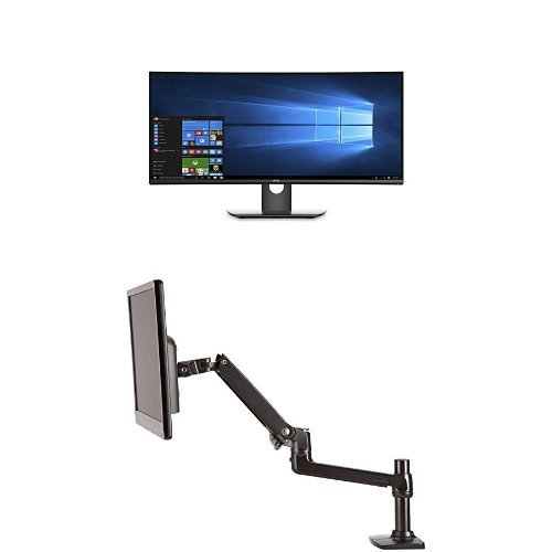 Dell U3417W 34-Inch Screen LED-Lit Monitor Bundle with AmazonBasics Single Mounting Arm