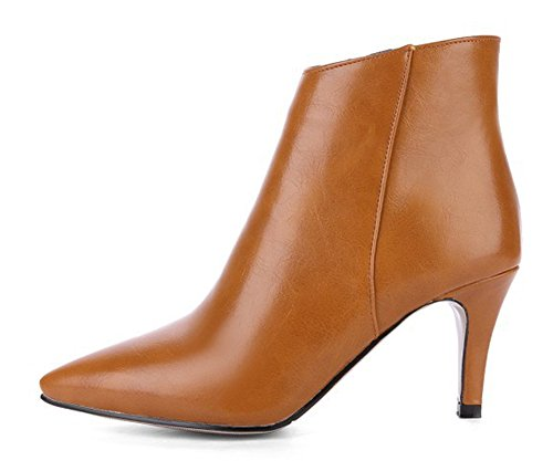 Booties Zip Sexy Inside Tan Boots Dressy Women's Stiletto Up Aisun With High Ankle Heels Toe Zipper Pointed Simple YgzYwCx