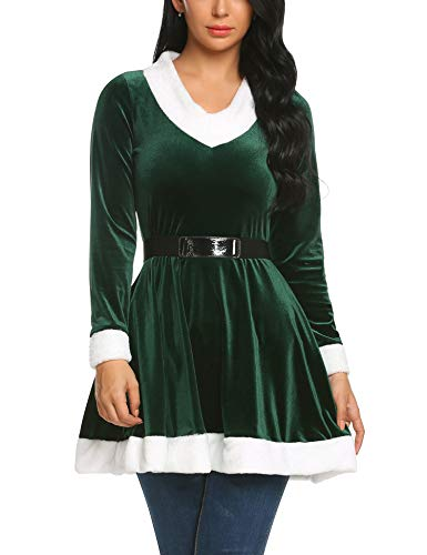 Zeagoo Womens Santa Claus Christmas Costume Cosplay Xmas Outfit Fancy Dress