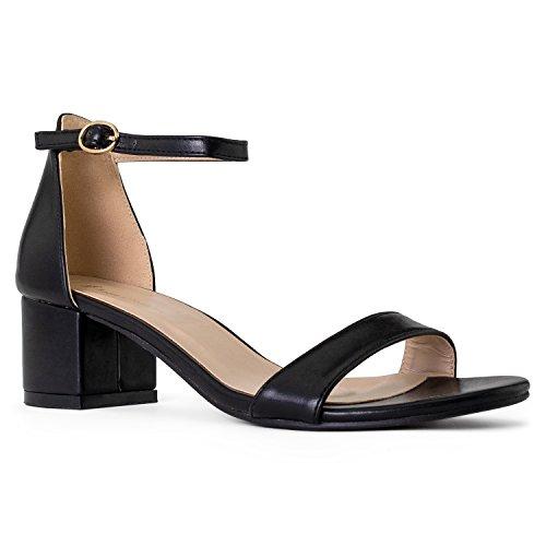RF ROOM OF FASHION Bebe-01 Open Toe Ankle Strap Sandal - Trendy Kitten Heel Shoe - Low Block Formal Heel - Cute Low Sandal - Faux Leather Vegan Black PU - Heel Sandals Kitten Leather