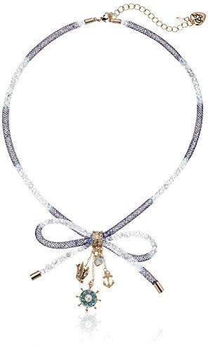 Gold Tone Mesh Bow (Betsey Johnson Mesh Tube Bow Multi-Charm Necklace, 18